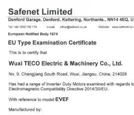 无锡东元电机CE证书