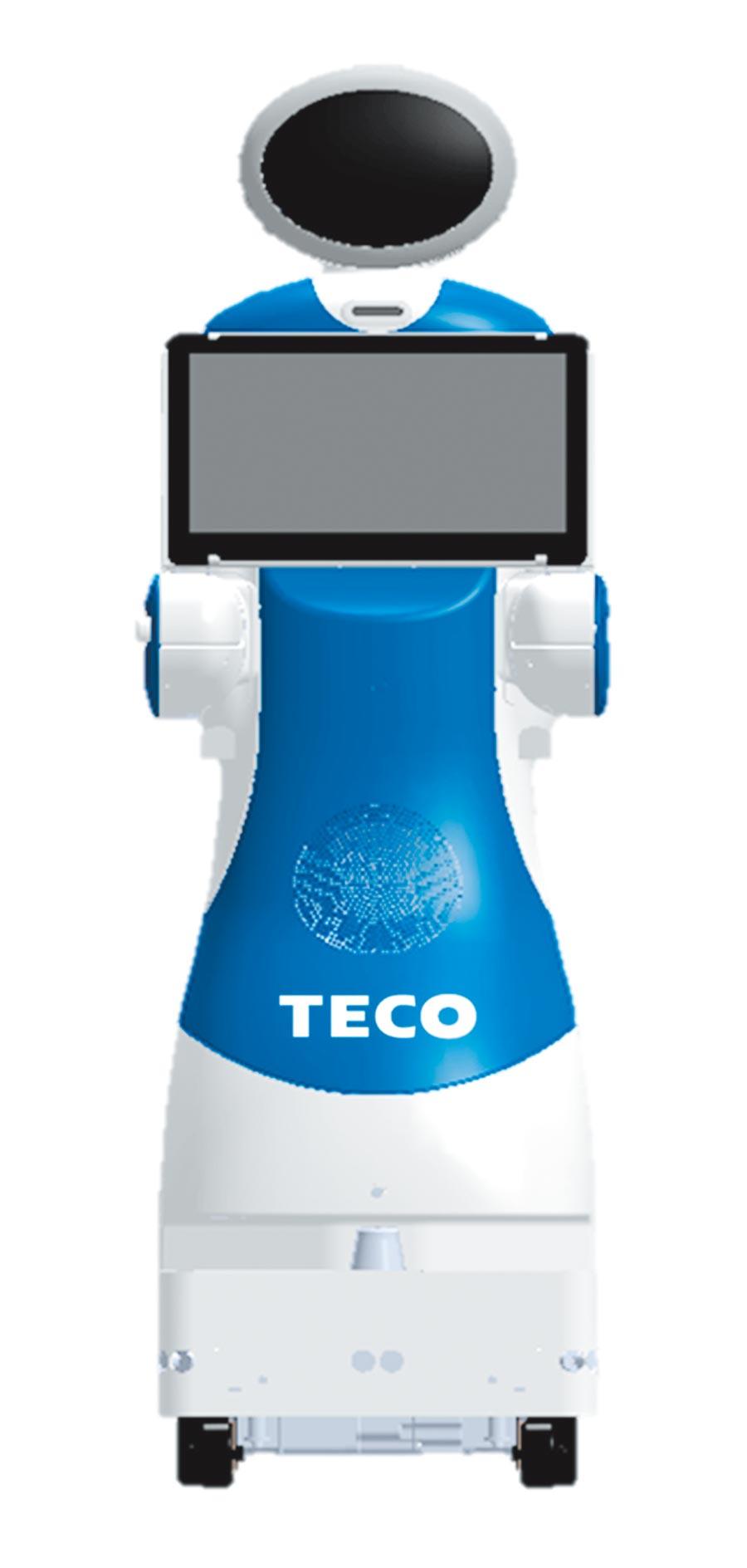 东元今天特别首度亮相自家生产的服务型机器人担任导览员。图/东元提供