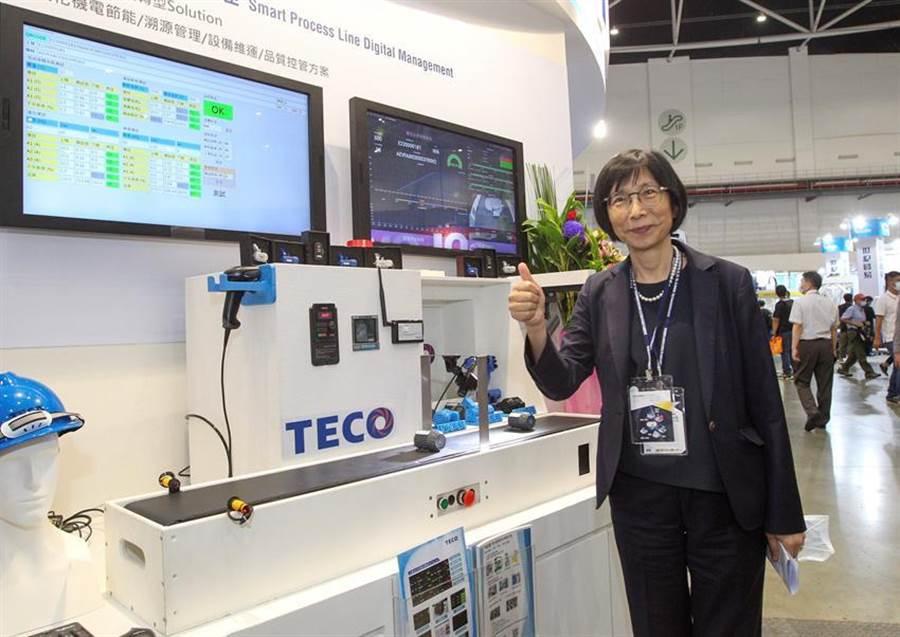 东元集团参加19日登场的台北国际自动化工业展,主推智慧工厂,协助传动工厂智慧化。图为东元集团董事长邱纯枝。(图/东元提供)